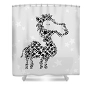 Camel Black Star Shower Curtain