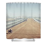 Camel Racing Track In Dubai Shower Curtain