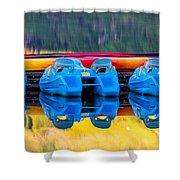 Cameron Lake Paddle Boats Shower Curtain