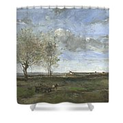 Camille Corot   A Wagon In The Plains Of Artois Shower Curtain