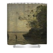 Camille Corot   Evening On The Lake Shower Curtain