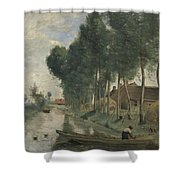 Camille Corot   Landscape At Arleux Du Nord Shower Curtain