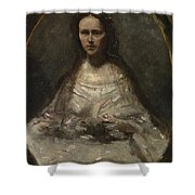 Camille Corot   Sketch Of A Woman In Bridal Dress Shower Curtain