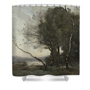 Camille Corot   The Leaning Tree Trunk Shower Curtain