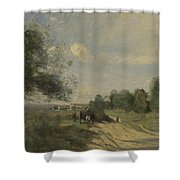 Camille Corot   The Wagon Souvenir Of Saintry Shower Curtain