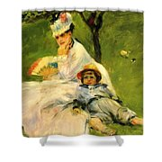Camille Monet And Her Son Jean In The Garden At Argenteuil 1874 Shower Curtain