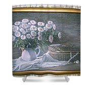 Camomile In The Pot And Busket With Pearls  Shower Curtain