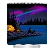 Camping With Dog Shower Curtain