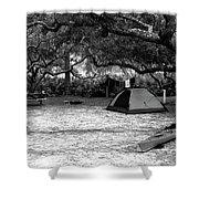 Camp Under Live Oaks Shower Curtain