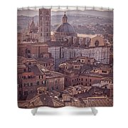Campanile And Cathedral In Siena Italy Antique Matte Shower Curtain