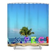 Campeche Sign And Sea View Shower Curtain
