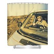 Camper Man On Adventure Shower Curtain