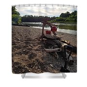 Campfire Cooking Soon - Indiana Canoeing Shower Curtain
