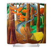 Camping - Through The Forest Series Shower Curtain