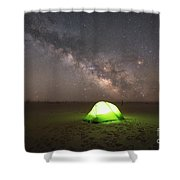 Camping Under The Milky Way Galaxy Shower Curtain