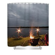 Campsite Lakeside Shower Curtain