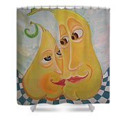 Can I Just Stay Near You?  Pear Love Shower Curtain