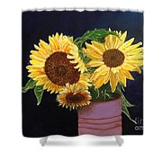 Can Of Sunflowers Shower Curtain