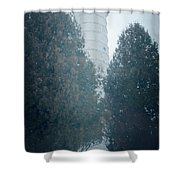 Cana Island Lighthouse Wisconsin Painterly Shower Curtain