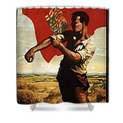 Canada - Canadian Pacific Railway - Flag - Retro Travel Poster - Vintage Poster Shower Curtain
