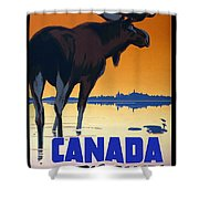 Canada For Big Game Travel Canadian Pacific - Moose - Retro Travel Poster - Vintage Poster Shower Curtain
