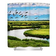 Canada Geese Entering Idaho's Teton Valley Shower Curtain