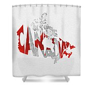 Canada Typographic Map Flag Shower Curtain