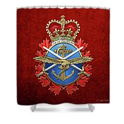 Canadian Armed Forces  -  C A F  Badge Over Red Velvet Shower Curtain