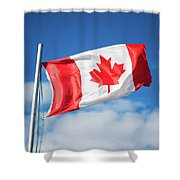 Canadian Flag Flying Proudly Shower Curtain