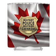 Canadian Forces Military Police C F M P  -  M P Officer Id Badge Over Canadian Flag Shower Curtain