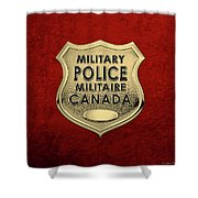 Canadian Forces Military Police C F M P  -  M P Officer Id Badge Over Red Velvet Shower Curtain