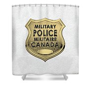 Canadian Forces Military Police C F M P  -  M P Officer Id Badge Over White Leather Shower Curtain
