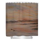 Canadian Geese At Sunset Shower Curtain