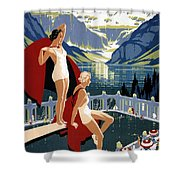 Canadian Pacific - Chateau Lake Louise - Canadian Rockies - Retro Travel Poster - Vintage Poster Shower Curtain