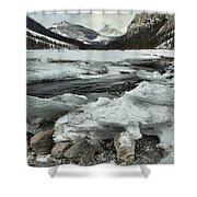 Canadian Rockies Rugged Winter Landscape Shower Curtain