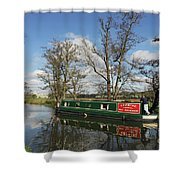 Canal Boat On Wey Navigations Shower Curtain