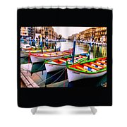 Canal Boats On A Canal In Venice L A S Shower Curtain