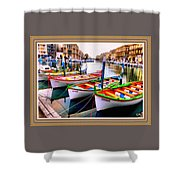 Canal Boats On A Canal In Venice L A S With Decorative Ornate Printed Frame.  Shower Curtain