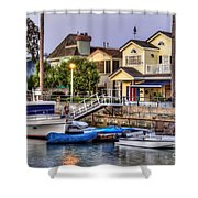 Canal Houses And Boats Shower Curtain