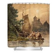 Canal Landscape With A Church Shower Curtain