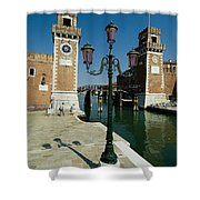 Canal Leading Into The Arsenale Shower Curtain