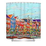 Canal Of Amsterdam, Bridge And Westerkerk Shower Curtain