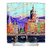 Canal Of Amsterdam, Storm Is Comming Shower Curtain