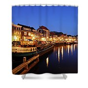 Canal Thorbeckegracht In Zwolle At Dusk With Boats Shower Curtain