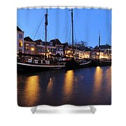 Canal Thorbeckegracht In Zwolle In The Evening Shower Curtain