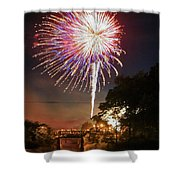 Canal View Of Fire Works Shower Curtain