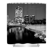 Canal Walk And Richmond Skyline In Black And White Shower Curtain