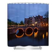 Canals Of Amsterdam At Night Shower Curtain