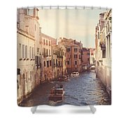 Canals Of Venice With Instagram Vintage Style Filter Shower Curtain