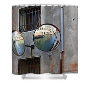 Canals Reflected In Mirrors In Venice Italy Shower Curtain